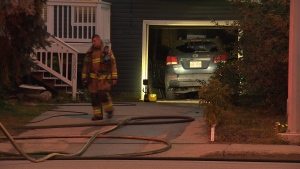 Police are investigating a suspicious fire at this northeast Edmonton garage.