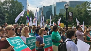 Elementary school teachers take stand against sex-ed repeal at Toronto protest | CTV News