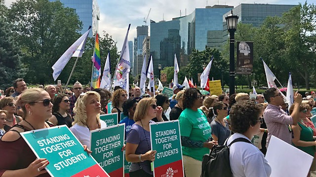 Elementary teachers, activists and other groups rally at Queen's Park in opposition of Premier Doug Ford's repeal of the provincial sex-ed curriculum on Aug. 14, 2018. (Cristina Tenaglia/CP24)