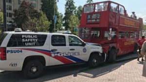 Police SUV, tour bus among multiple vehicles involved in collision at Queen's Quay | CTV News