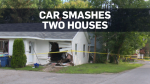 An alleged car thief's trip ended abruptly early Tuesday when the vehicle he was driving smashed through one house and landed in a second.