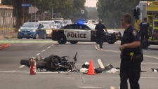 Monday two people were rushed to hospital in Victoria following a serious collision. Aug. 13, 2018 (CTV Vancouver Island)