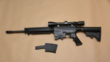 An assault rifle seized during a gang bust in Delta is seen in this provided image.