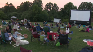 Movie viewing for dogs and their owners in Waterloo Park.