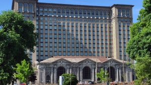 This May 25, 2018 photo shows the old Michigan Central Station in Detroit. (Corey Williams / The Associated Press)