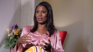 Former White House staffer Omarosa Manigault Newman speaks during an interview with The Associated Press, Tuesday, Aug. 14, 2018, in New York. (AP Photo/Mary Altaffer)
