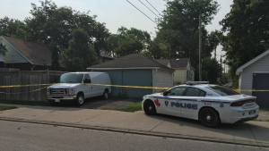 Officers taped off a house in the 1500 block of Gladstone Avenue on Wednesday, Aug. 15, 2018. (Chris Campbell / CTV Windsor)