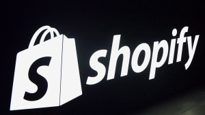 A Shopify logo is seen during an event in Toronto on Tuesday, May 8, 2018. (THE CANADIAN PRESS/Nathan Denette)