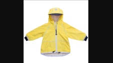 It has a drawstring at the bottom, comes in sizes 2T to 6Y and is sold in blue, pink, red and yellow. (Source: Health Canada)