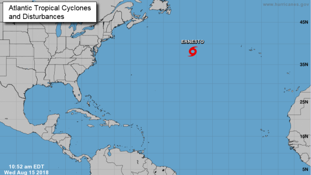 Subtropical storm Ernesto becomes better organized over the Atlantic