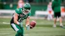 Rob Bagg #6 of the Saskatchewan Roughriders catches a ball during warm up before CFL action in Regina against the BC Lions on Saturday, October 29, 2016. (CFL PHOTO - MATT SMITH)