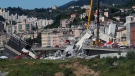 Rescuers work among the rubble of the Morandi highway bridge that collapsed in Genoa, northern Italy, Wednesday, Aug. 15, 2018. A large section of the bridge collapsed over an industrial area in the Italian city of Genova during a sudden and violent storm, leaving vehicles crushed in rubble below. (AP / Antonio Calanni)