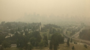 A photo from the top of the Senator Burns building at SAIT shows how much smoke has gathered in Calgary. As of 2:00 p.m., the AQHI sits at 10+. (Supplied)