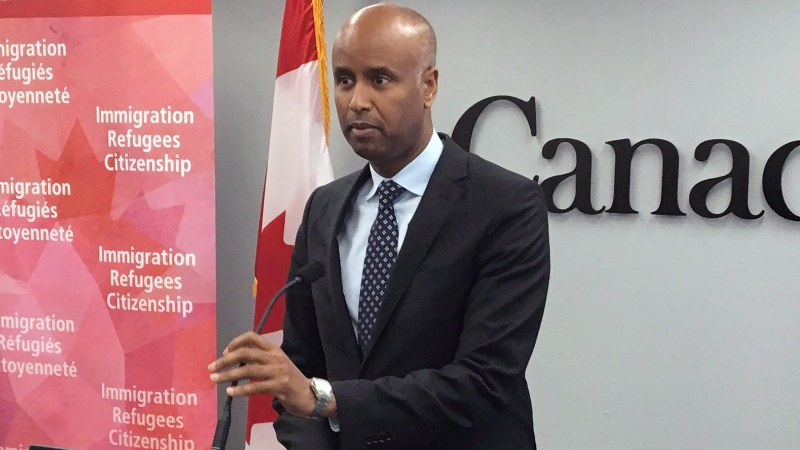 Ahmed Hussen, the federal minister of Immigration, Refugees and Citizenship, speaks during a press conference in Halifax on Monday, July 9, 2018. (THE CANADIAN PRESS/Michael Tutton)