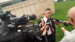 Defence lawyer Greg Chovin addresses media after the sentencing of his client Jared Charles. (Holly Giesbrecht/CTV)