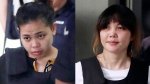 This combination of the Oct. 2, 2017 file photos shows Indonesian Siti Aisyah, left, and Vietnamese Doan Thi Huong, right, escorted by police as they leave a court hearing in Shah Alam, Malaysia, outside Kuala Lumpur. (AP Photo/Daniel Chan, File)
