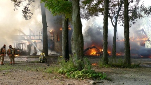 Firefighters took about six hours to put out the flames when a house undergoing renovations in Senneville caught fire on Wednesday Aug. 15, 2018 (Pascal Marchand)