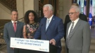 Philippe Couillard, Dominique Anglade, Carlos Leitao and other ministers announce changes to tax rates to assist manufacturers in Quebec