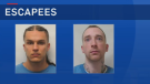 Saint John police say 26-year-old Nico Soubliere (left) escaped after cutting off an electronic monitoring anklet on Aug. 8 and that 27-year-old James Halleran left the Parrtown Community Correctional Centre on July 31.