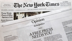 An editorial titled 'A Free Press Needs You' is published in The New York Times, Thursday, Aug. 16, 2018, in New York. (AP Photo/Mark Lennihan)