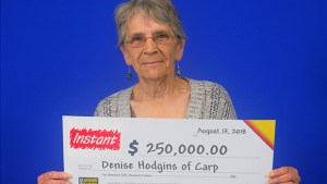 Denise Hodgins of Carp wins $1250,000 Instant Xtreme Green lottery draw