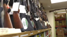 Guns displayed at Shooter's Choice.
