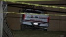 Police are investigating after a pickup truck crashed into a Surrey, B.C. home, injuring a three-month-old baby.