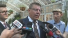 Premier Scott Moe speaks to reporters in Regina on Aug. 15, 2018