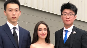 Brian Guo (left), Dasha Metropolitansky and Hanson Liu achieved perfect scores in the International Baccalaureate program. (The Halton District School Board)