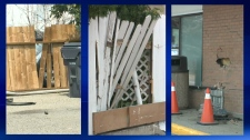 Broken fences and damage to an exterior wall of a 7-Eleven on 23 St N following a series of collisions in the early morning hours of August 16, 2018
