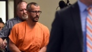 Christopher Watts is escorted into the courtroom before his bond hearing at the Weld County Courthouse in Greeley, Colo. on on Thursday, Aug. 16, 2018. (Joshua Polson/The Greeley Tribune via AP, Pool)