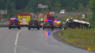 Bracebridge OPP and emergency crews attend the scene of a fatal crash on Highway 400 on Friday, August 17, 2018.