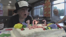 Marion Westhead celebrates her 103rd birthday at McDonalds