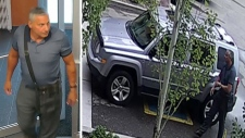 Long & McQuade posted photos of the male seen on surveillance footage spending $500 for a violin worth $7,500 from the south side store on August 4, 2018. Supplied.