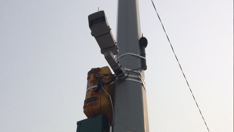 A mic and camera installed at Jasper Ave. and 122 St., one of four locations in Edmonton where the city is collecting noise data as part of a four-month pilot project.