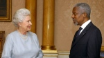 In this Tuesday, Oct. 19, 2004 file photo Britain's Queen Elizabeth II, left, receives the Secretary General of the United Nations, Kofi Annan, at Buckingham Palace, in London. (AP Photo/Kirsty Wigglesworth, File)