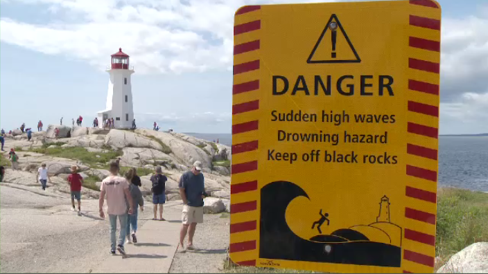 Despite warning signs, visitors are still getting too close to the dangerous coastline at Peggy's Cove.