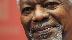 Kofi Annan, Former Secretary-General of the United Nations, takes part in a panel discussion at the University of Ottawa on Friday, November 4, 2011. THE CANADIAN PRESS/Sean Kilpatrick