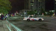 Police are seen outside Sherway Gardens Mall on Aug. 18, 2018 after three people were stabbed. (CP24)
