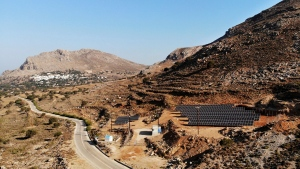 A solar park on the Aegean island of Tilos, Greece is seen in this photo from Thursday, Aug. 9, 2018. Tilos will become the first island in the Mediterranean to run exclusively on wind and solar power. (Iliana Mier / The Associated Press)