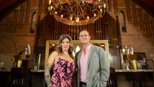 Rob and Candice Wigan pose for photographs in their restaurant, Revival House, which is in a converted church in Stratford, Ont., on Friday, August 10, 2018. THE CANADIAN PRESS/Geoff Robins