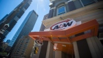An A&W Restaurant in Toronto is photographed on Monday, July 9, 2018. The fast food chain last month launched a plant-based burger made by Beyond Meat, a celebrity-backed California-based company, whose burger uses ingredients including beet, coconut oil and potato starch to mimic beef's colouring, juiciness and chew. (THE CANADIAN PRESS / Tijana Martin)