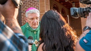 In this Saturday, Aug. 18, 2018, file photo Bishop David Zubik, current Bishop of the Catholic Diocese of Pittsburgh, takes questions from reporters after vocation Mass at Saints John and Paul Parish in Franklin Park, Pa. (Michael M. Santiago/Pittsburgh Post-Gazette via AP, File)