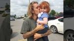 Justin Bieber gives a young girl a big kiss while visiting Stratford. (Aug. 18, 2018)