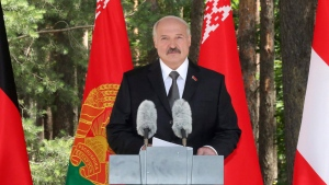 Belarusian President Alexander Lukashenko pauses as he delivers a speech on the outskirts of Minsk, Belarus, on Friday, June 29, 2018. (Nikolai Petrov / The Associated Press)