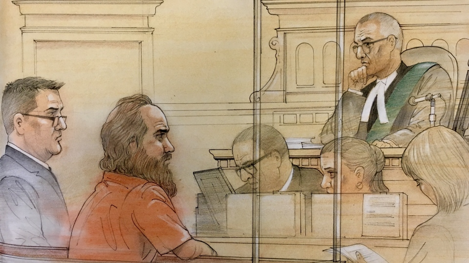 Michael Colastosti is seen in the court sketch from Aug. 19, 2018. (Source: John Mantha)