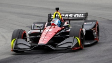 Robert Wickens competes in the IndyCar Series auto race, Sunday, July 29, 2018, at Mid-Ohio Sports Car Course in Lexington, Ohio. (AP Photo/Tom E. Puskar)