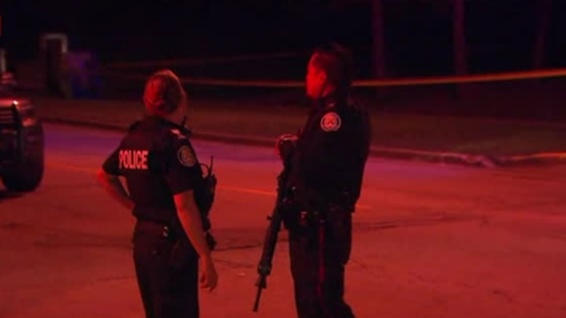 Police investigate a reported shooting on Woodlot Crescent in Etobicoke Sunday August 19, 2018.
