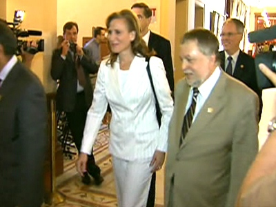 Economic Development and Trade Minister Sandra Pupatello on her way into a cabinet shuffle on Wednesday, June 24, 2009.