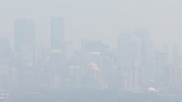 The City of Calgary skyline has been shrouded by smoke this month as a result of the wildfires in British Columbia